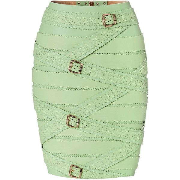 Marina Hoermanseder Green Strap Skirt ($1,313) ❤ liked on Polyvore featuring skirts, real leather skirt, green pencil skirt, belted pencil skirt, knee length pencil skirt and knee length leather skirt