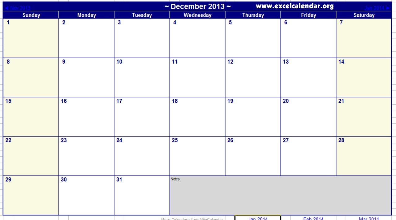 December 2013 Calendar Printable December 2013 Calendar Excel