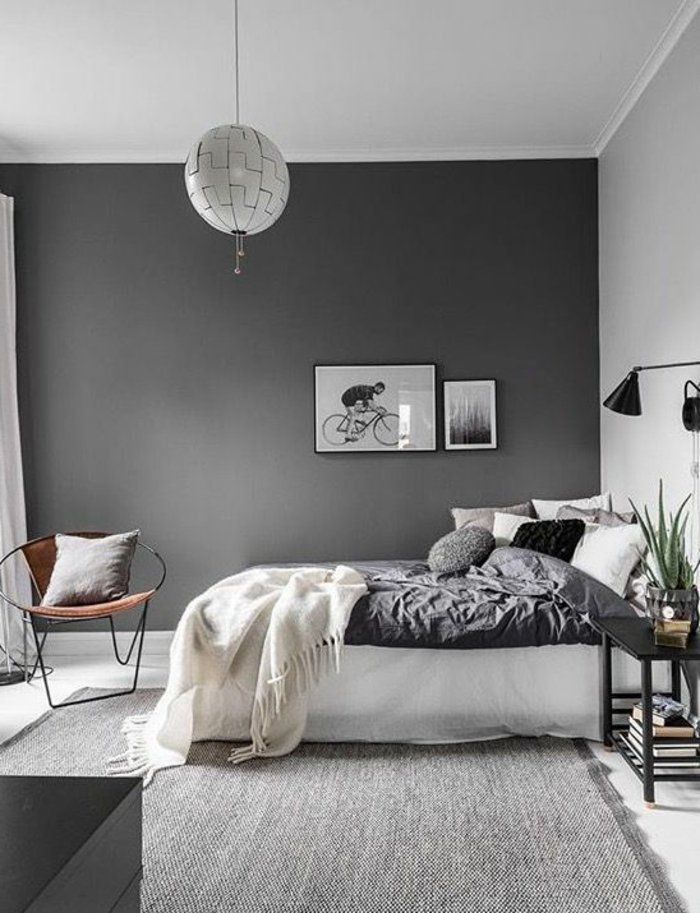 schlafzimmer grau eine lampe stuhl decke bilder aus. Black Bedroom Furniture Sets. Home Design Ideas