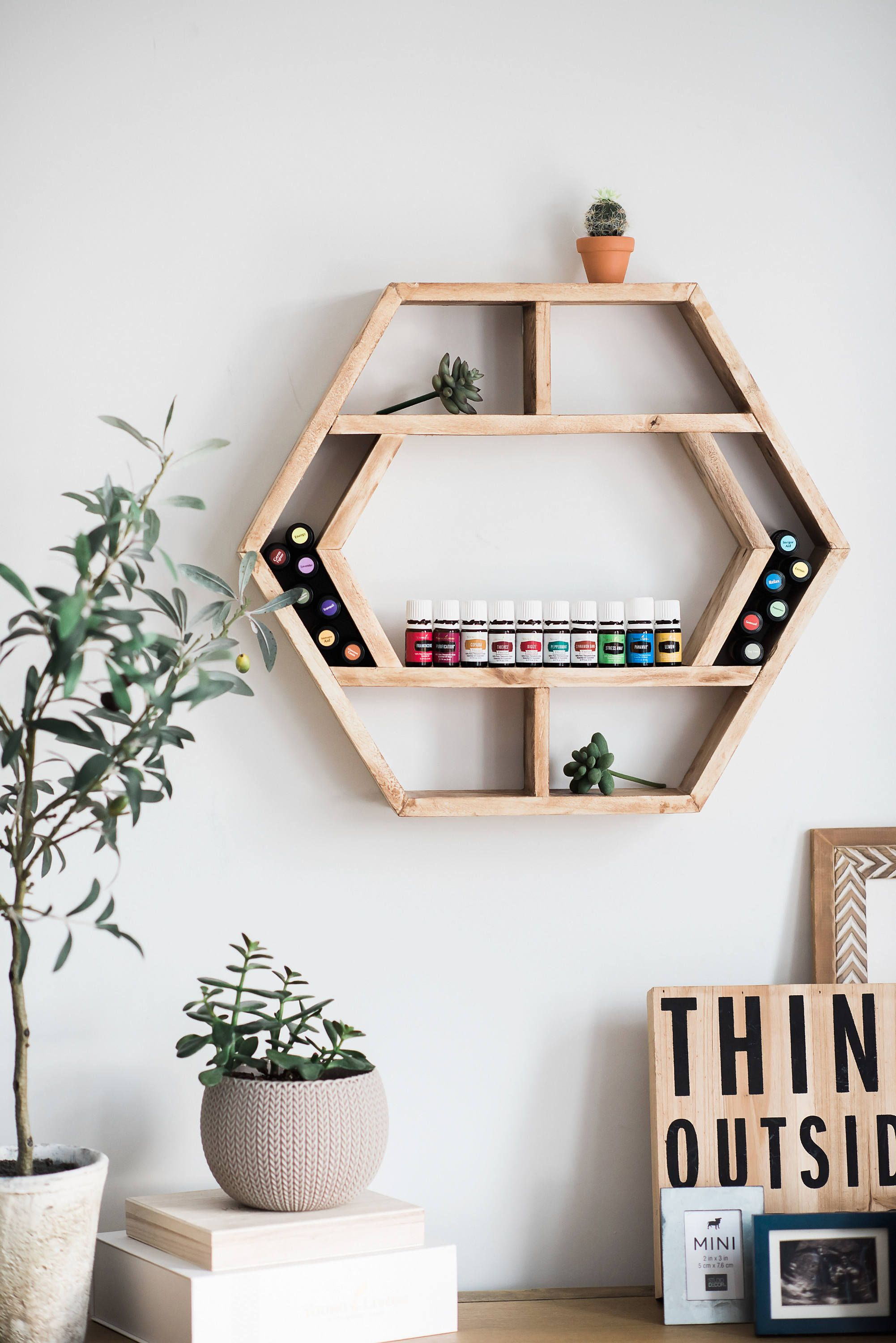 Essential Oil Storage Essential Oil Shelf Essential Oil Holder Wall Decor Floating Shelf Home Decor Hexagon Wood Shelf Geometric Oil Floating Shelves Diy Floating Shelves Essential Oil Holder