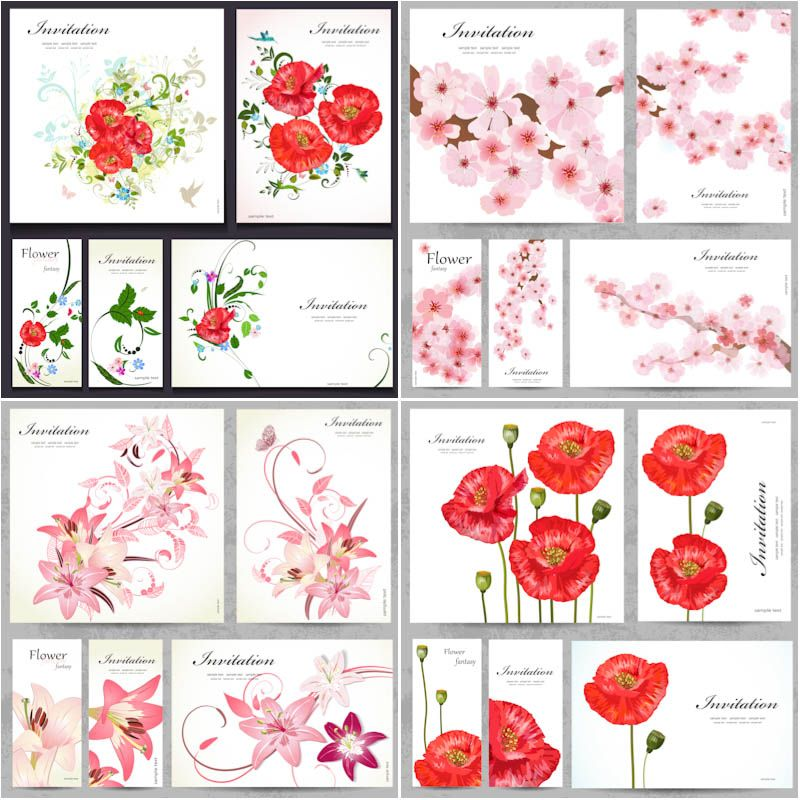 Big collection of invitation templates with flowers - red poppy - free download invitation templates