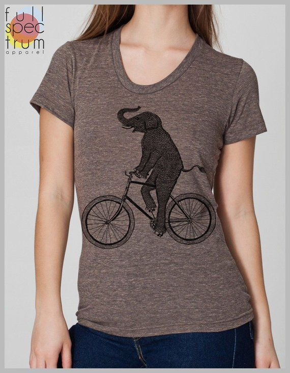 75a6afc86c5aec Women s T Shirt Elephant Riding a Bicycle Tee American Apparel s
