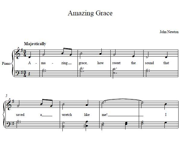 Amazing Grace Piano Music Amazing Grace Piano Sheet Music With