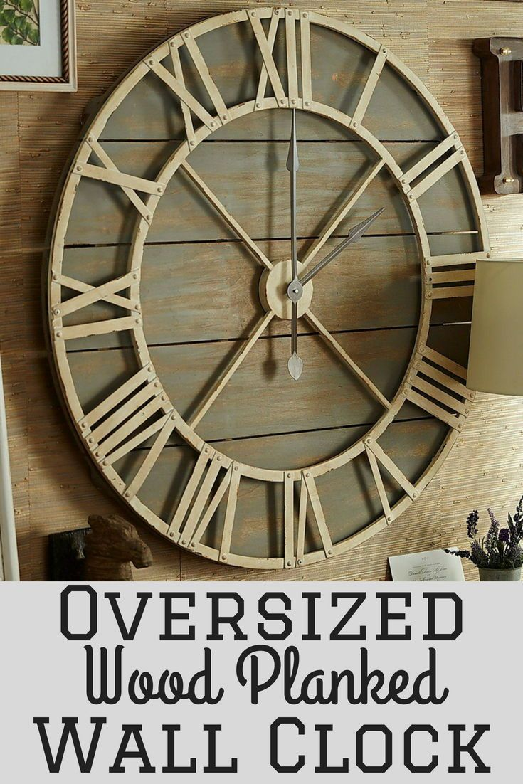 Oversized wood planked rustic wall clock a great way to round out