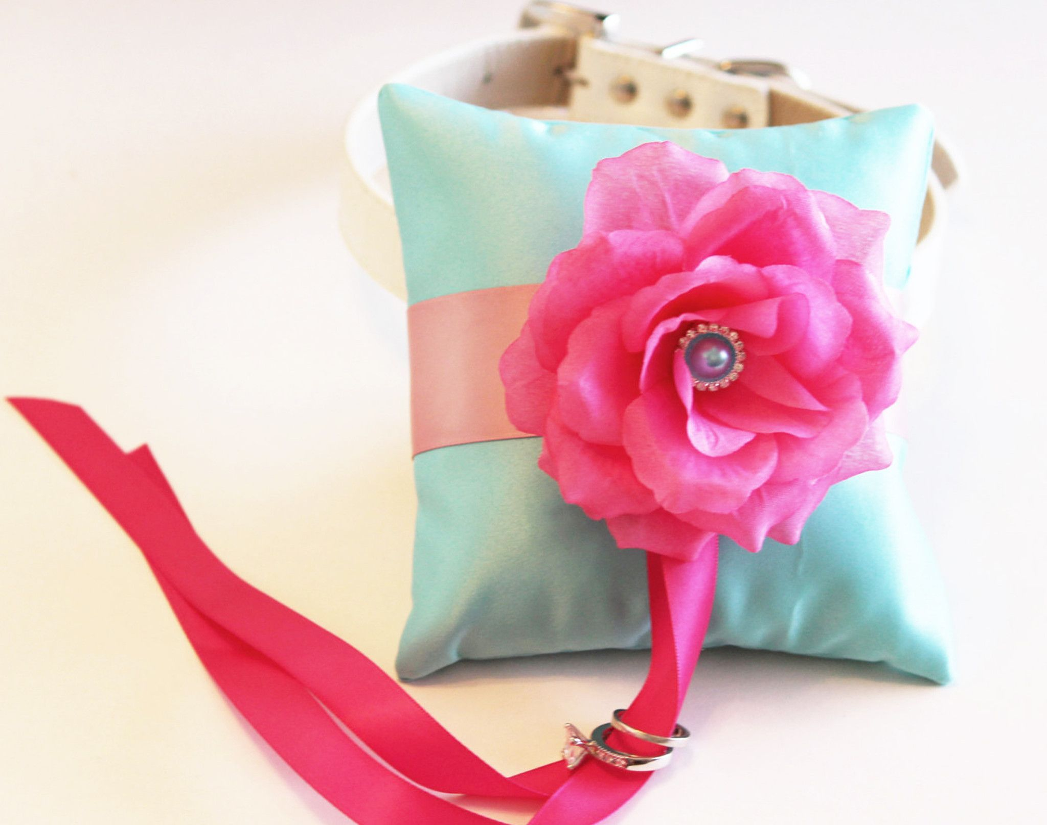 Aqua blue Hot Pink Ring Pillow, Ring Pillow attach to the High ...