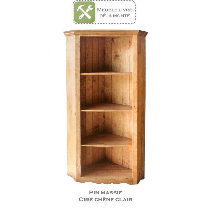 Bibliotheque D Angle En Pin Massif Au Style Authentique Et Indemodable 3 Etageres Pour Un Rangement Pratiqu Pin Massif Bibliotheque Angle Meuble En Pin Massif