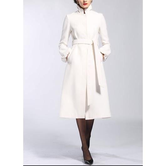 nouveau style 23cb9 20cd7 Long Manteau Blanc en laine Blanc - Achat / Vente manteau ...