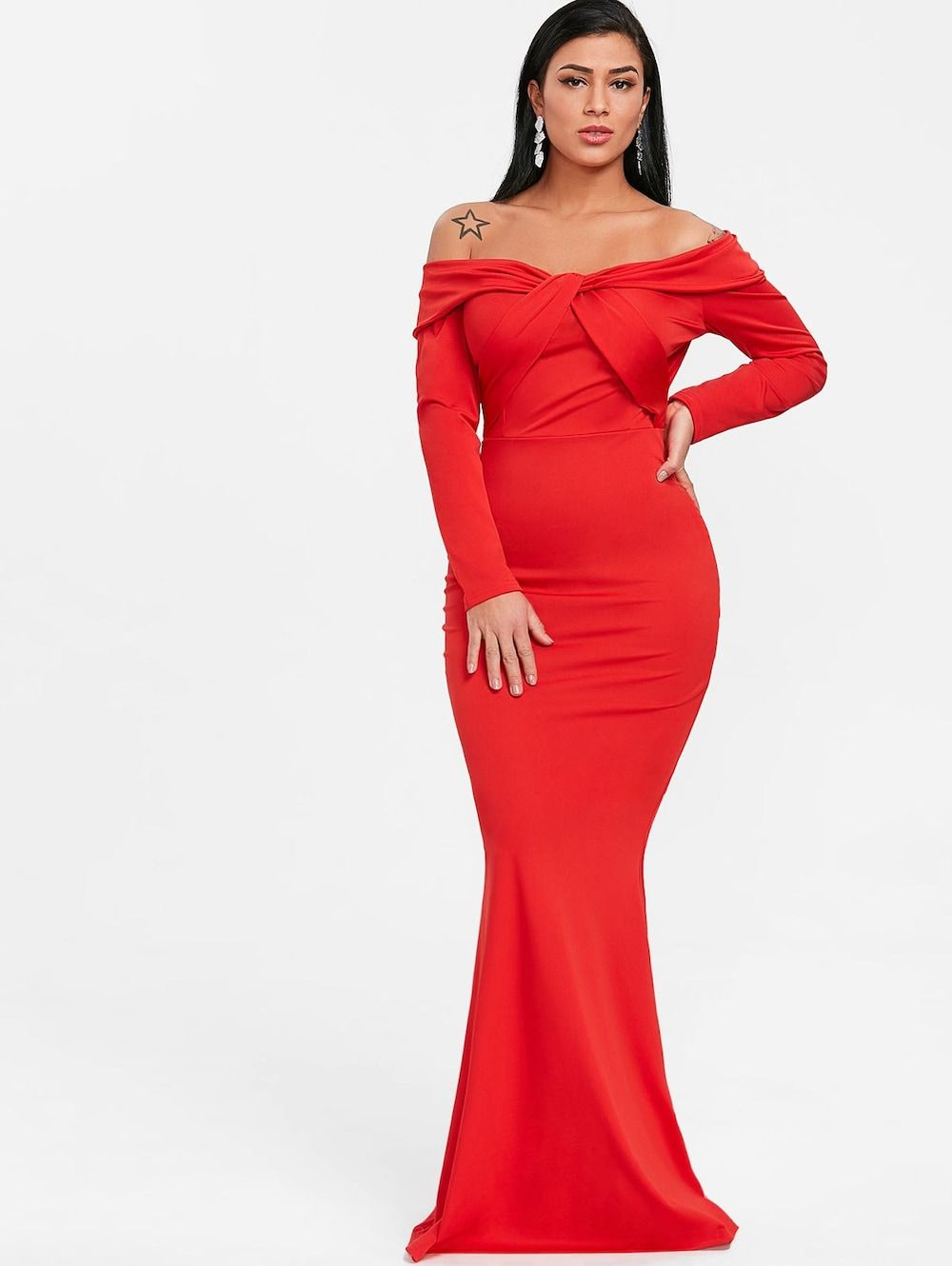 Off the shoulder twist trumpet prom dress sexy heels and