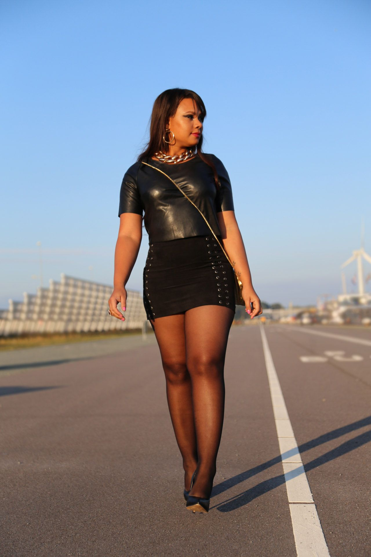 Sexy black girls in mini skirts
