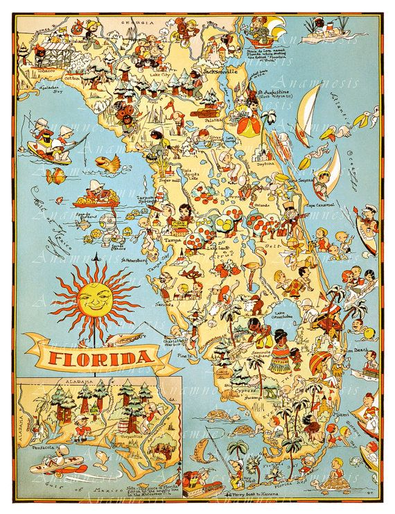 Vintage florida map instant digital download printable retro florida map high res digital image 1935 florida by anamnesis 399 publicscrutiny Choice Image