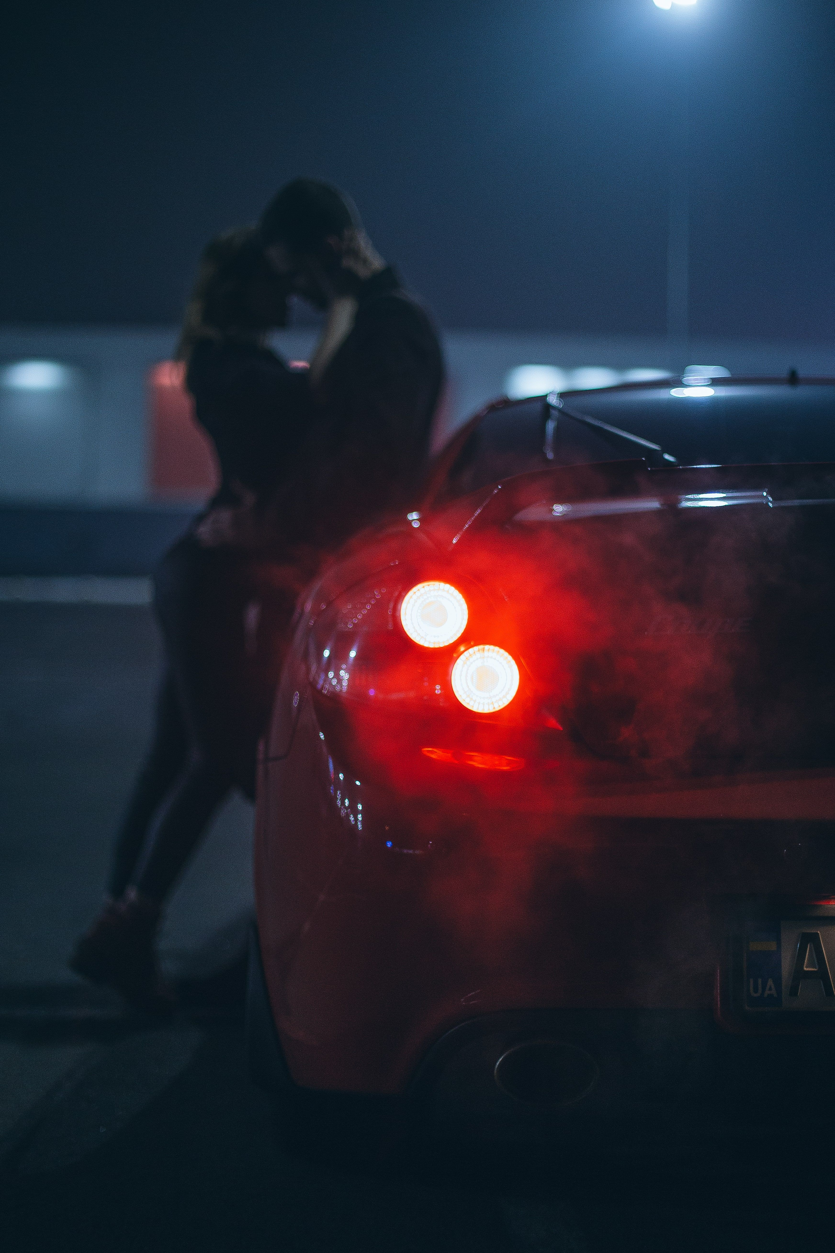 Night Lights Love Story Couple Girl Man Car Red Neon Photography Winter Winter Photography Night Photography Romantic Couples