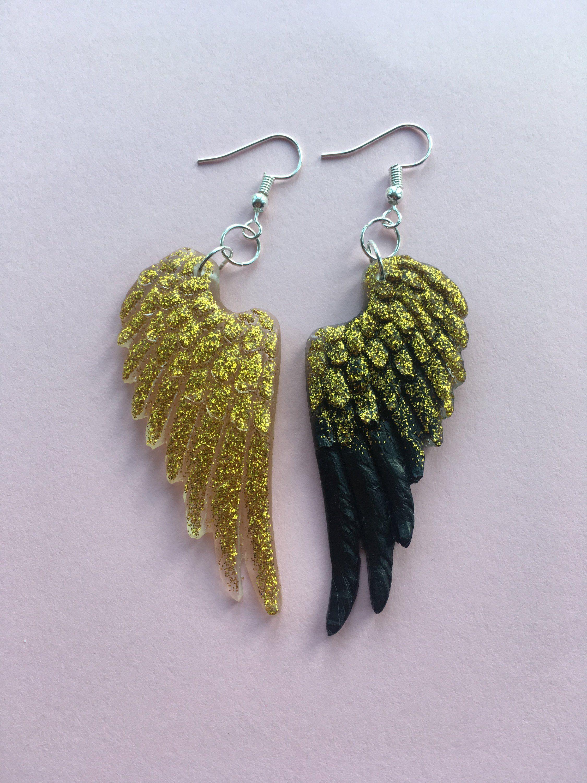 4aefbfbb777532 Angel wings earrings - Feather earrings - Large statement wing earrings -  Black gold viva earrings - Feathers earrings - Glitter wings by  BettieEngland on ...