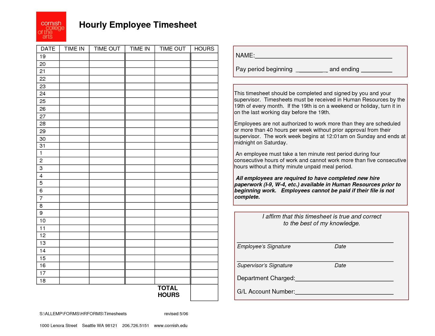 printable hourly time sheet