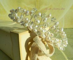 White Freshwater Pearl and Faceted Clear Quartz Bridal Tiara