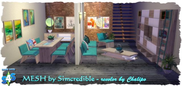 Recolor Of Simcredibleu0027s Dining Room Cadence By Chalipo At All 4 Sims U2022 Sims  4 Updates