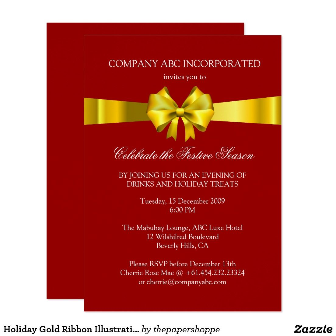 holiday gold ribbon illustration corporate party invitation