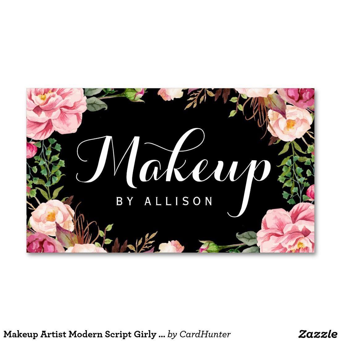 Makeup artist modern script girly floral wrapping business card makeup artist modern script girly floral wrapping fbccfo Image collections