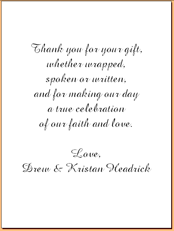 Wedding Thank You Note Examples Template In 2019