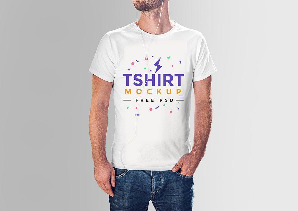 Download Free Realistic Men T Shirt Mockup Tshirt Mockup Shirt Mockup Mens Tshirts