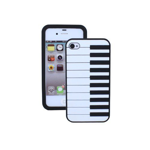 fosmon soft silicone piano keyboard design skin case for apple iphone 4 4s black iphone. Black Bedroom Furniture Sets. Home Design Ideas