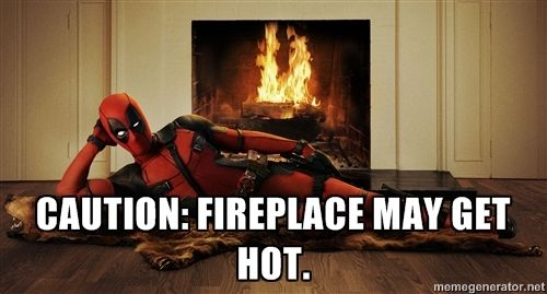 Sexy Deadpool in front of a fireplace - Caution: Fireplace may get ...