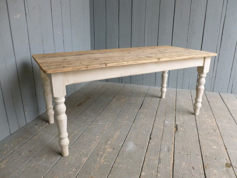 Reclaimed Pine Farmhouse Table With Tapered Legs Country