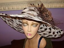 """Derby Hat BROWN AND OFF WHITE Church Wide Brim Hats 22 1/2"""" Circumference  http://ift.tt/1iFcTMU"""