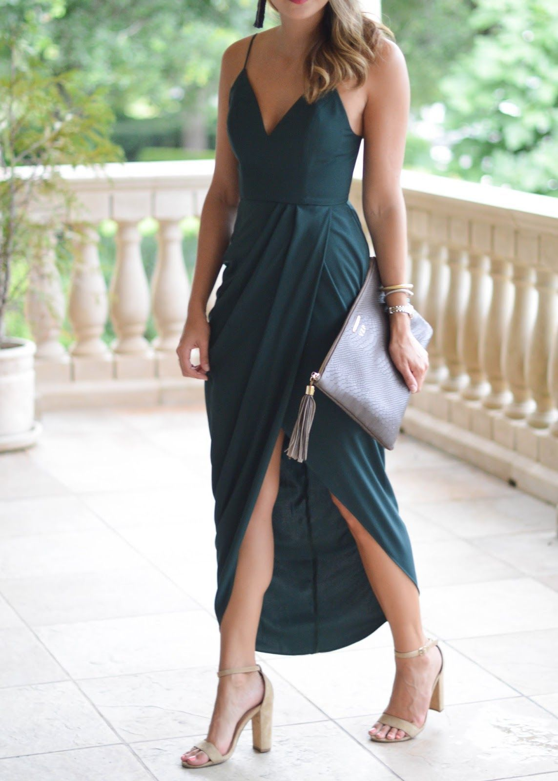 draped maxi dress / wedding guest style / Southern Style / green ...