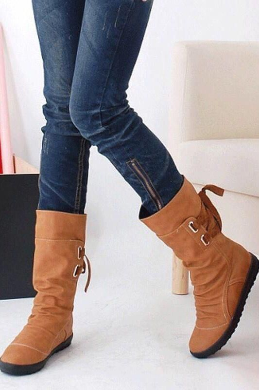 Women Fashion Boots Autumn Shoes with Lace-up Mid-C. Fall winter classy vintage casual chic edgy. #winterfashion #fallfashion #boots #streetstyle
