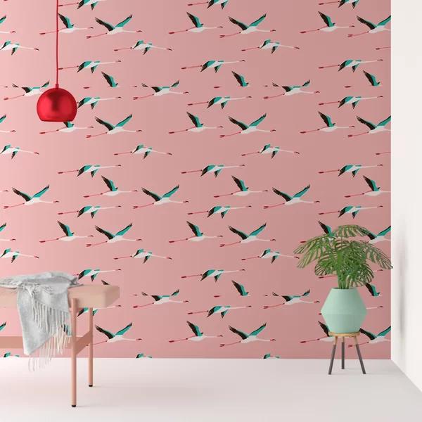 Clarissa Flamingo Peel And Stick Wallpaper Roll Wallpaper Roll Flamingo Wallpaper Pink Wallpaper Backgrounds