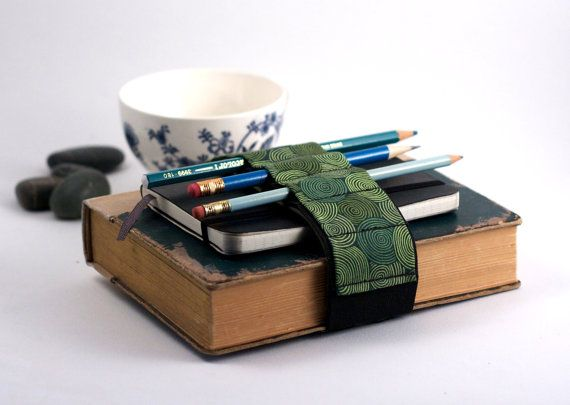 Keep pens and notebooks handy and portable with this adjustable velcro strap.