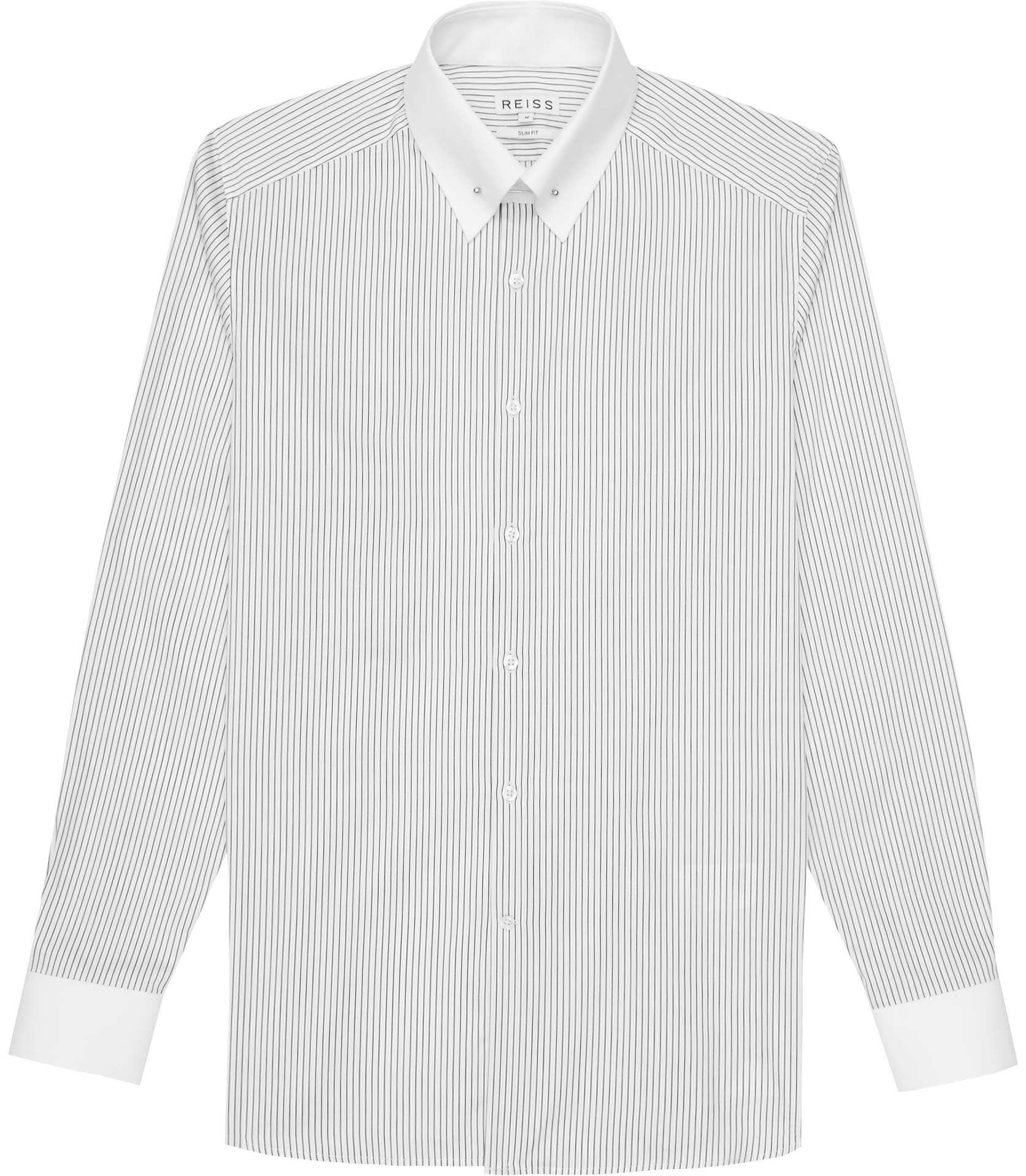 Black t shirt reiss - Mens White Stripe Collar Bar Shirt Reiss Shelby