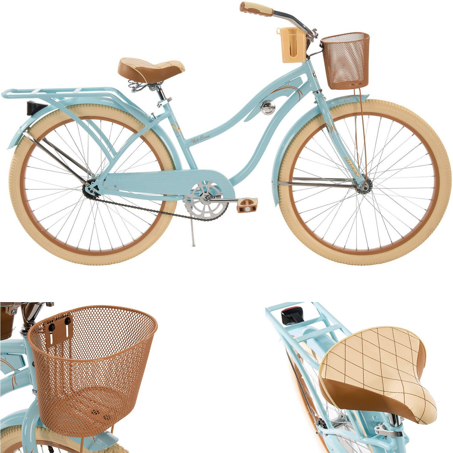 Womens Cruiser Bike 26 Inch Beach Bicycle Cycling Basket Comfortable Huffy Blue Beach Bicycle Bicycle Bike