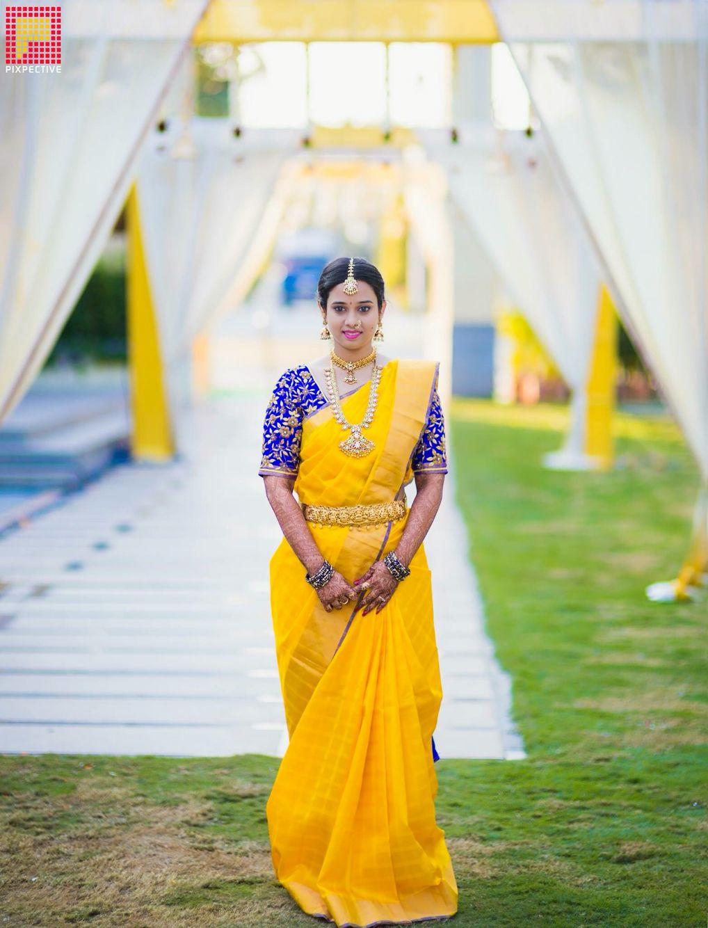 Mango mala   Indian Bridal Jewelry in 2019   Blue silk saree