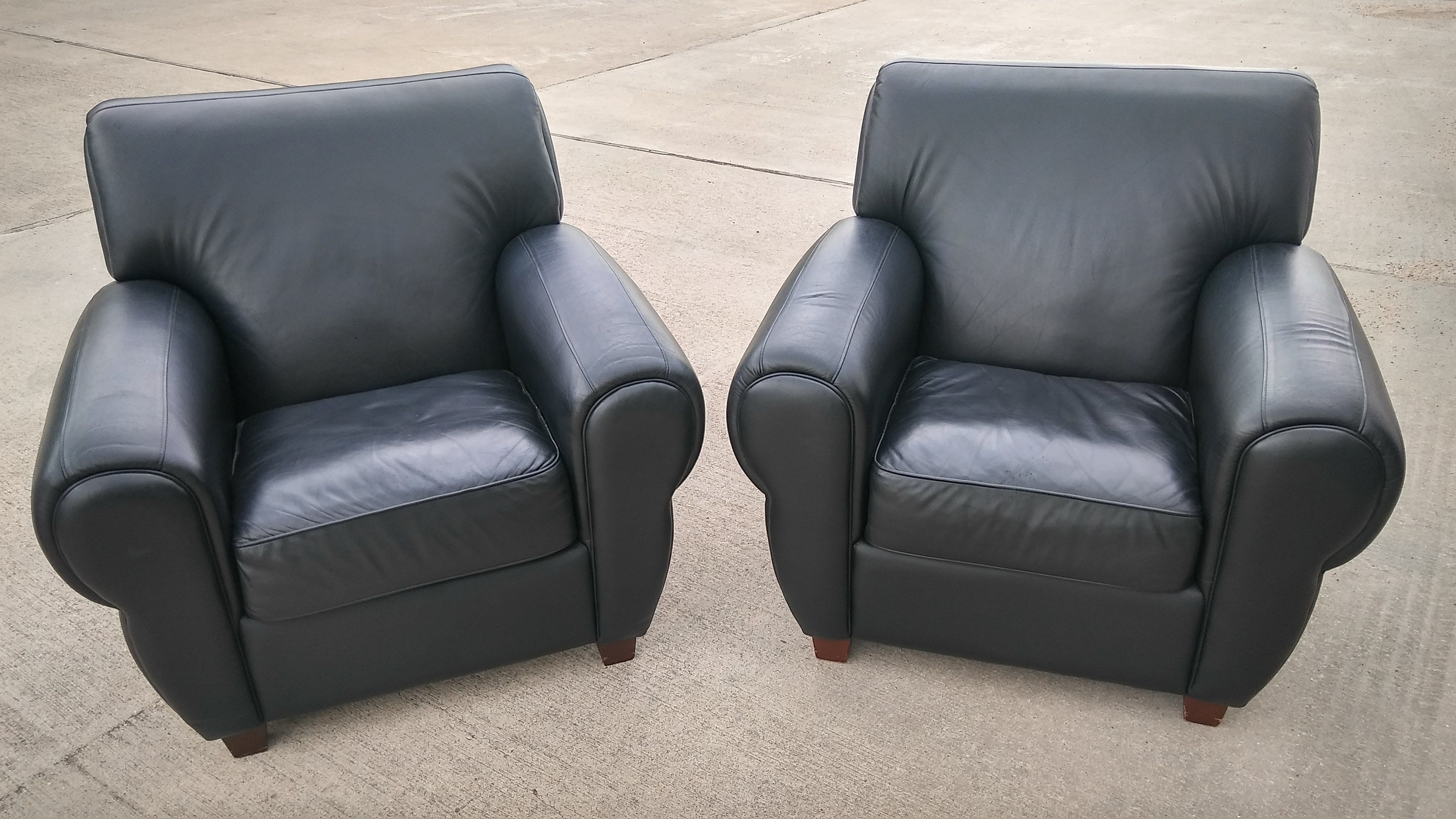 #2449   Pair Of Genuine Leather Club Chairs   Black