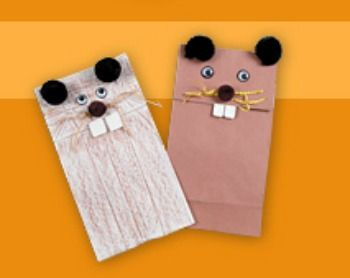 Crafts for Kids:  Groundhog Day puppets to use with reader's theater