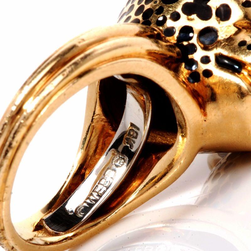 david webb panther enamel 18k gold ring inside ring