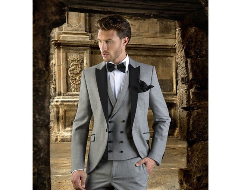 Black Lapel Grey Men Suit Slim Fit Prom Wedding Party Tuxedo Wedding ...