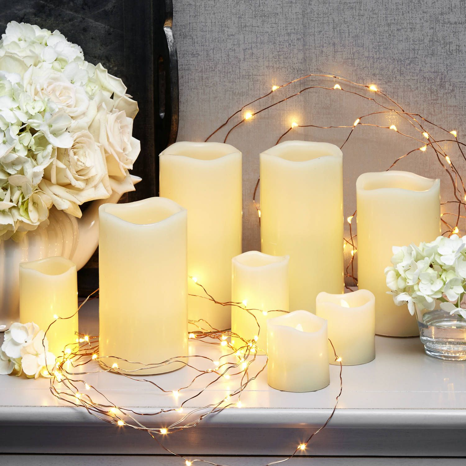 Lit Decor Flameless Candle And Copper Fairy Light Party