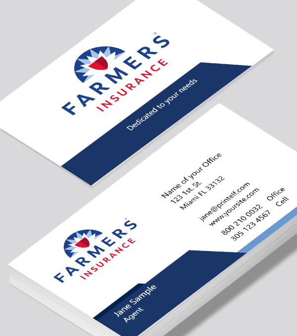 Farmers Insurance Clean Business Card Modern Design In 2020