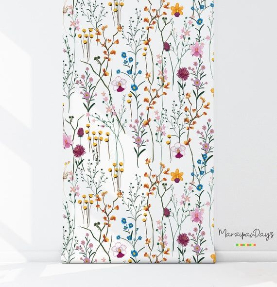 Photo of WIld flowers removable wallpaper – Garden flowers wall mural, Watercolor, Bright wallpaper, Colorful wall decor, Wall decals #89