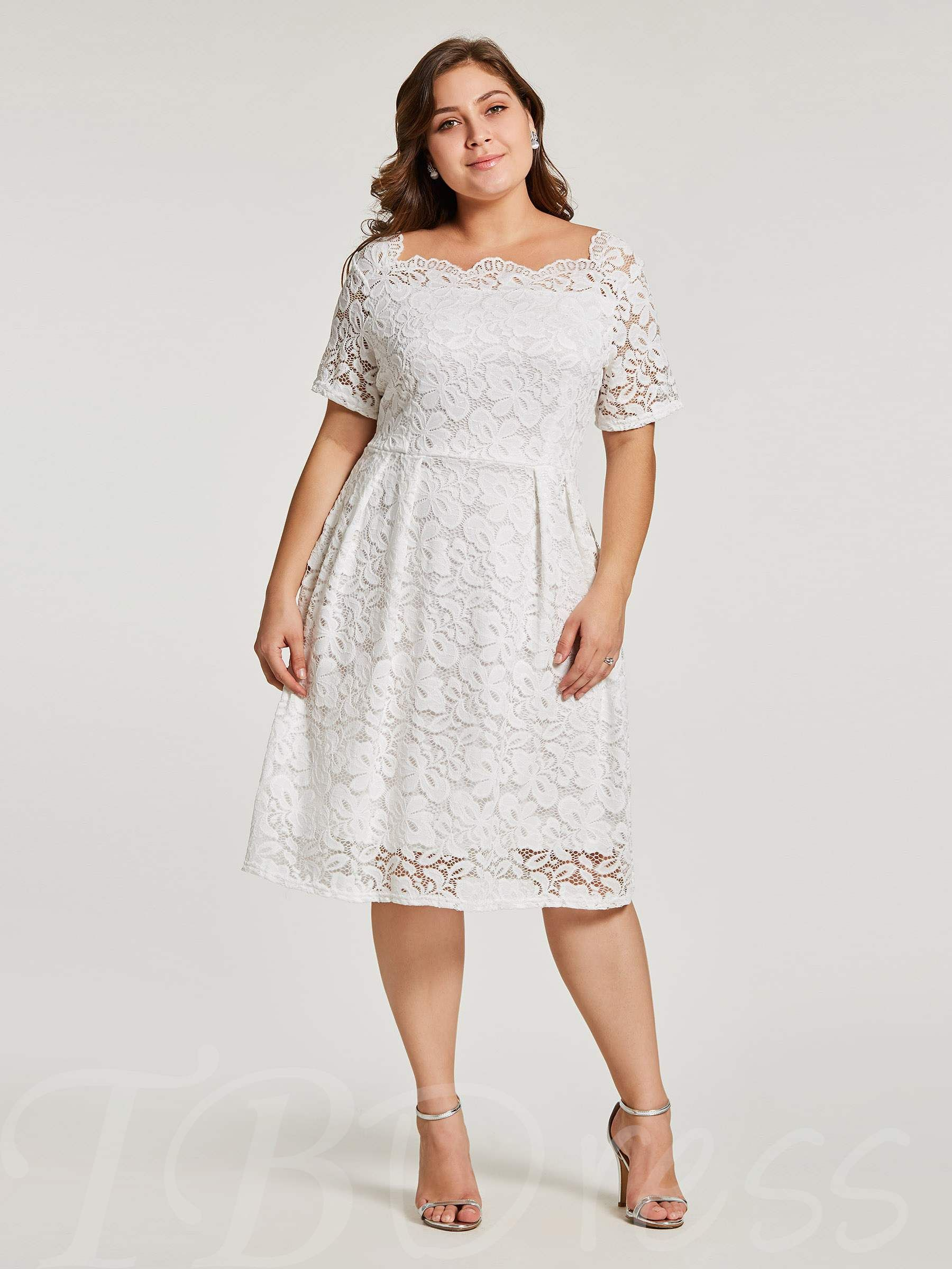 Plus Size White Lace Short Sleeve A-Line Dress | My turn ...