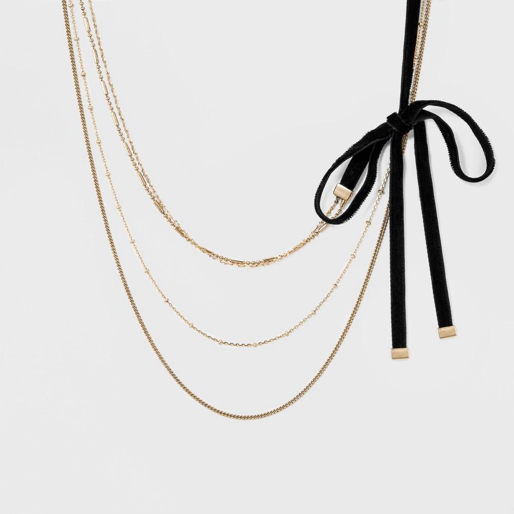 Sugarfix by BaubleBar Layered Gold Choker with Bow - Black b8bb4d6266