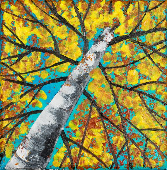 Abstract Oil Birch Landscape Painting Textured by QiQiGallery | home ...