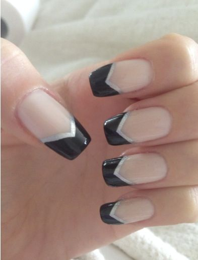 Cute black and silver v shaped nail design nail designs cute black and silver v shaped nail design prinsesfo Images