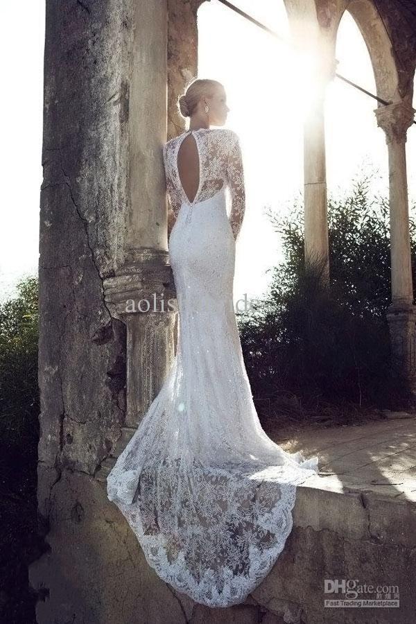 2014 Elegant Vintage V Neck Long Sleeves Wedding Dresses Beads Lace Gowns Back Cut Out Bridal Garden