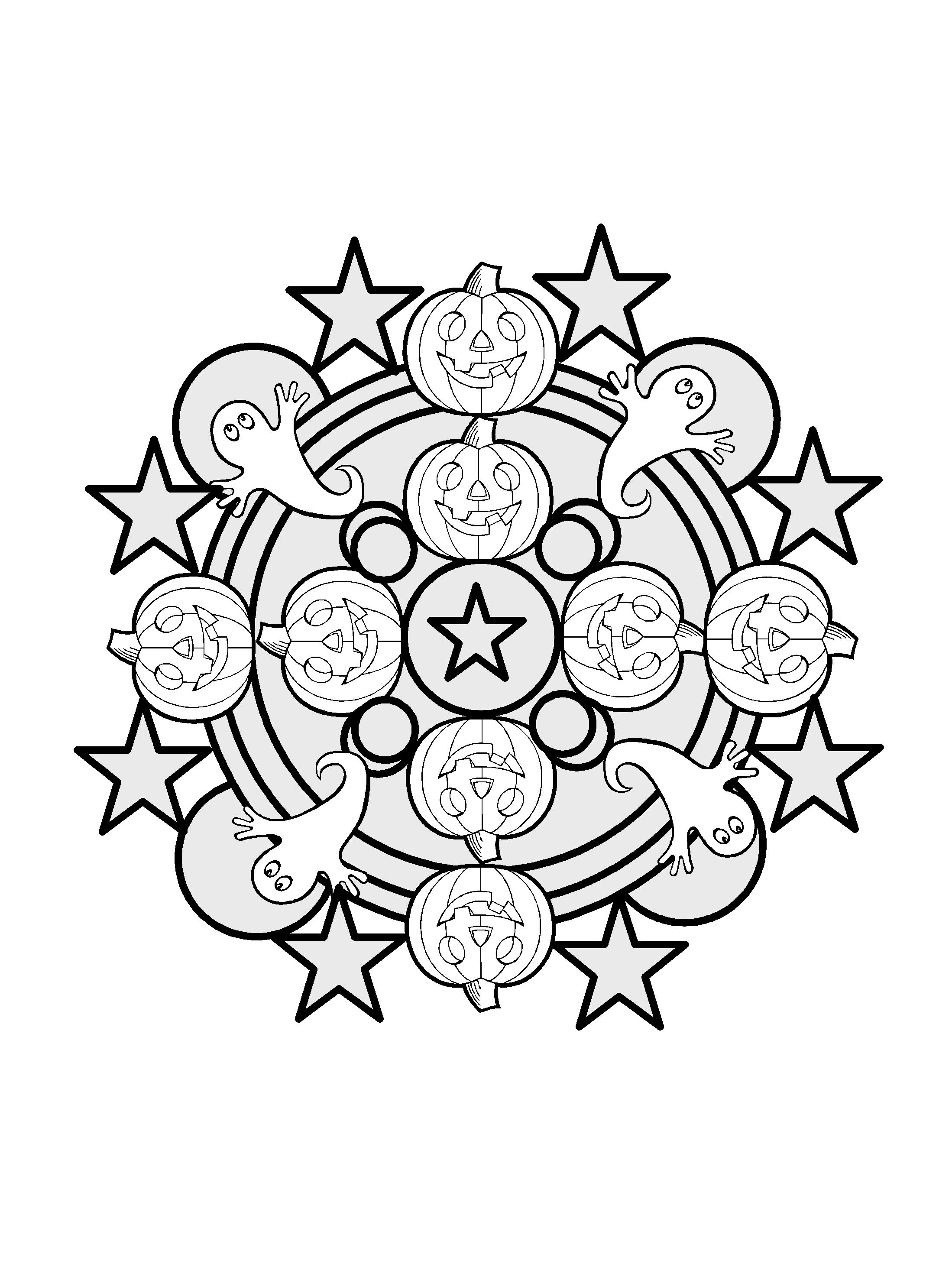 Easy Halloween Mandala To Colour Education