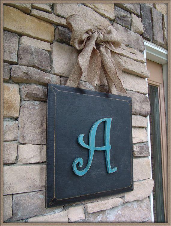 Custom Monogram Initial Door Wall Hanger Plaque on Etsy, $45.00