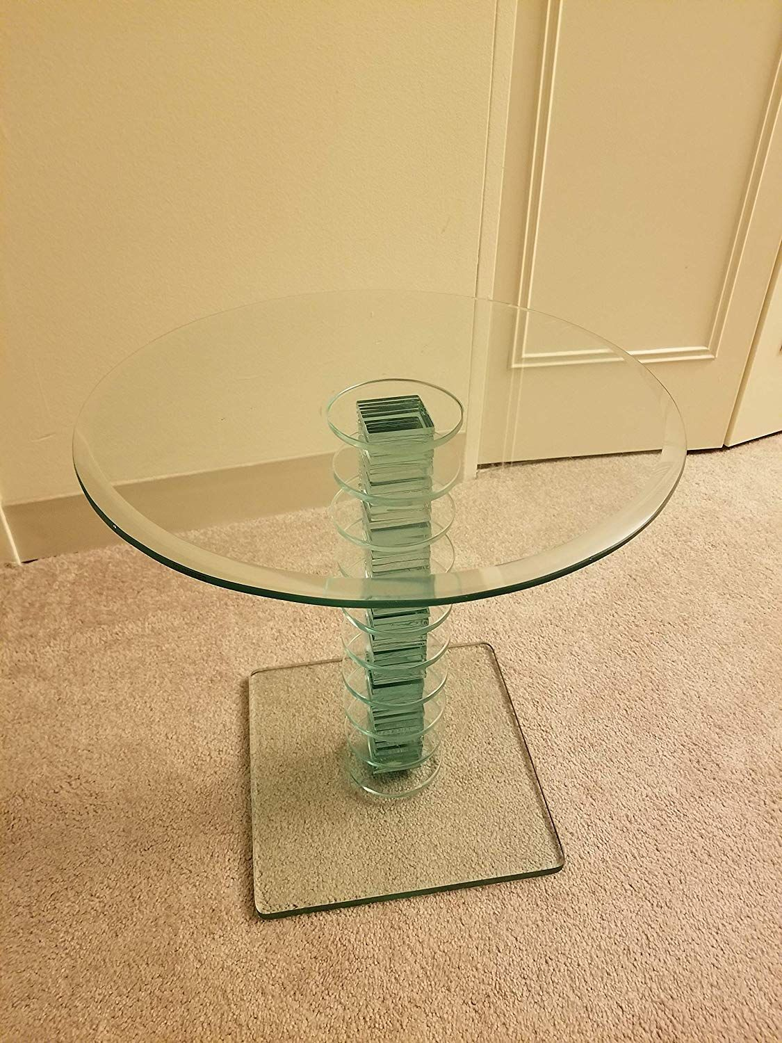 Amazon Com Glass Side Table Set Of 2 Tables Tower Design Kitchen Dining Glass Side Tables Tower Design Glass [ 1500 x 1125 Pixel ]