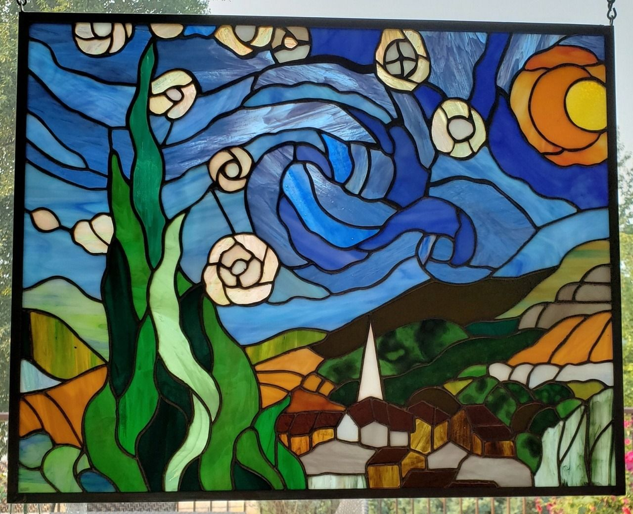 Starry Night Stained Glass Art Vosburg Stained Glass on Etsy See our or Glass tags